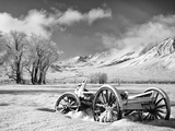 USA  California  Bishop Snow-Covered Vintage Wagon in Owens Valley