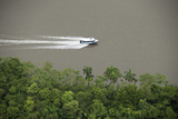 Speed Boat for Oil Industry  Napo River  Amazon Rainforest  Ecuador