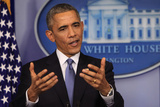 President Barack Obama at a News Conference  Brady Press Briefing Room