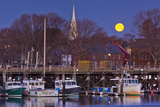 The Moon Sets Behind the Fishing Pier in Portsmouth  New Hampshire