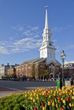 Tulips and North Church in Market Square Portsmouth  New Hampshire