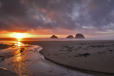 USA  Oregon  Oceanside Sunset on Three Arch Rocks