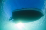 Underwater View of a Boat Hull Through the Waters of Florida Bay