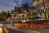 Dusk Light on Ocean Drive in South Beach in Miami Beach  Florida  USA