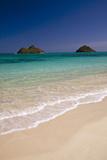 USA  Hawaii  Oahu  Lanikai Twin Mokulua Islands with Blue Water