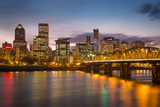 Twilight over Portland Along the Banks of the Willamette River  Oregon
