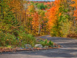 Michigan  Upper Peninsula Road Through Hardwood Forest in Autumn