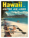 Hawaii - United Air Lines - Couple on Hawaiian Outrigger Canoe (Wa'a)