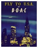 Fly to USA - New York City Night Skyline - BOAC (British Overseas Airways Corporation)