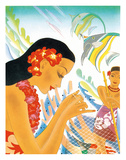 Gifts of the Sea - Hawaiian Woman repairs a Fishing Net (Upena)