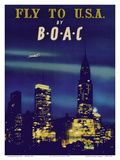 Fly to USA - New York City Night Skyline - BOAC (British Overseas Airways Corporation)