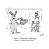 A clown presents a child with a balloon figurine of a man in a suit workin - New Yorker Cartoon