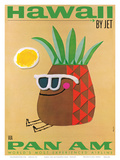 Hawaii by Jet - Pan American Airlines (PAA) - Mr. Pineapple Head Reproduction d'art par #REF!