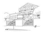 A museum-like building is dedicated to Breakfast with a large coffee cup o - New Yorker Cartoon