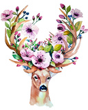 Vector Watercolor Hand Drawn Floral Set with Deer Colorful Flor