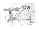 "(A caveman walks past a tunnel labeled ""BC"") - New Yorker Cartoon"
