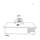 """A man is seated as his desk  looking up with a fly swatter in front of him"""" - New Yorker Cartoon"""