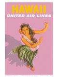 Hawaiian Hula Dancer - United Air Lines Reproduction d'art par Stan Galli