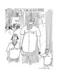 """A man and his two sons  all wear Red Sox gear including """"official team cap - New Yorker Cartoon"""