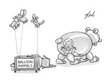 An unattended table has a sign that says balloon animals  and a balloon be - New Yorker Cartoon