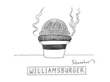 A burger is steaming between a beanie and a fedora - New Yorker Cartoon