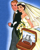 Illustration of Newlyweds and Wedding Rings