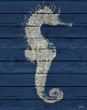 Antique Seahorse on Blue I