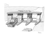"There is a toll both with a ""riddles"" lane The toll taker is a troll - New Yorker Cartoon"