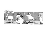 A four-paneled comic strip with a  person facing the rear end of a bull wh - New Yorker Cartoon
