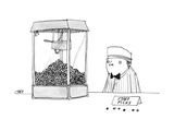 Movie theater attendant selling popcorn  to the right of the machine are t - New Yorker Cartoon