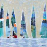 Dozen Colorful Boats Square I