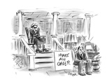 A woman sitting on a porch is selling her husband along with other things  - New Yorker Cartoon