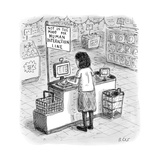 "A woman checks out her groceries at the line indicated ""Not in the Mood fo - New Yorker Cartoon"