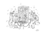 """(A man smokes cigarettes in a glass box with a sign that reads """"The Last S - New Yorker Cartoon"""