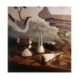 Still-Life of 17th Century Silver Brushes Against a Background of 18th Century Chinese Paper Panel