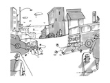 Two cars pull away from each other with cans tied to the bumpers  the car  - New Yorker Cartoon