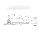 A man walks on the sidewalk trailing thought bubbles behind him - New Yorker Cartoon