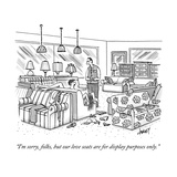 """I'm sorry  folks  but our love seats are for display purposes only"" - New Yorker Cartoon"