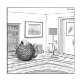 A man is stuck in a yarn ball and his cat leaves the room holding a briefc - New Yorker Cartoon