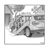 Family entering their SUV with the aid of a large airline style wheel-up r - New Yorker Cartoon