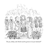 """Do you  Ashley  take Nesbitt and his genome to be your husband"" - New Yorker Cartoon"