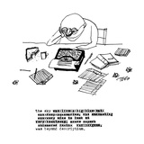 A writer relaxes behind his typewriter  and the title of the cartoon says  - New Yorker Cartoon