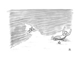 Moses is laying on a beach chair parting the sea around a sand castle - New Yorker Cartoon