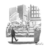 People are crossing the street looking at their cell phones and using walk - New Yorker Cartoon