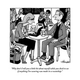 """Why don't I tell you a little bit about myself while you check to see if "" - New Yorker Cartoon"