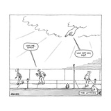 God's hand in the clouds points at a man walking on a sidewalk - New Yorker Cartoon