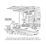 """""""And the cheese in your omelette Cheddar  Brie  aged Gouda  Morbier  Tort"""" - New Yorker Cartoon"""