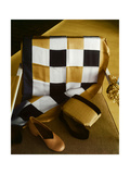 White  Gold and Black Checkered Silk Scarf  Shantung and Velvet Handbag  and Gold Kidskin Shoe