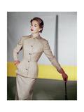 Model Wearing a Beige Tissue Wool Suit