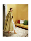 Model Wearing Gold Silk Taffeta Shantung Coat over a Gold Organdie Dress by Cecil Chapman